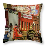 Honky Tonk Row - Nashville Tn Throw Pillow