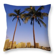 Honolulu And Palms Throw Pillow