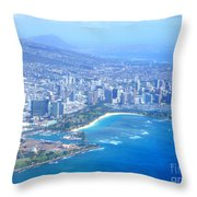Honolulu And Waikiki From The Air Throw Pillow