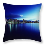Honolulu At Night Throw Pillow