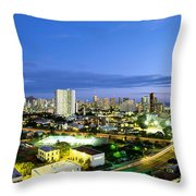 Honolulu City Lights Throw Pillow