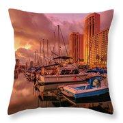 Honolulu Waterfront Oahu Throw Pillow