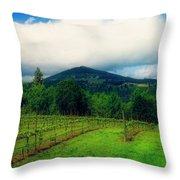 Hood River Oregon - Cloud Burst Over The Vineyard Throw Pillow