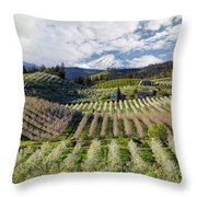 Hood River Pear Orchards On A Cloudy Day Throw Pillow