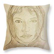 Hooded Girl  Throw Pillow