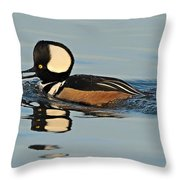 Hooded Merganser And Eel Throw Pillow