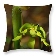 Hooded Pitcher Plant Throw Pillow