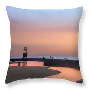 Hook Pier Lighthouse - Chicago Throw Pillow