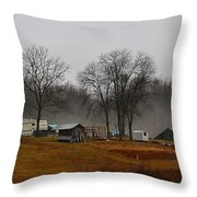 Hooker Road In The Fog 1 Throw Pillow