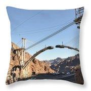 Hoover Dam Bypass Highway Under Construction Throw Pillow
