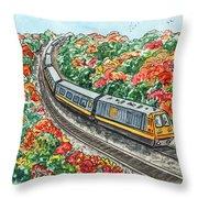 Hop On A Train Throw Pillow