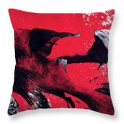 Hope - Red Black And White Abstract Art Painting Throw Pillow