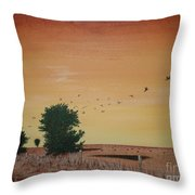 Hope Road With Black Birds Throw Pillow