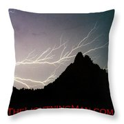 Horizonal Lightning Poster Throw Pillow