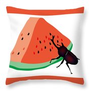 Horn Beetle Is Eating A Piece Of Red Watermelon Throw Pillow