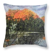 Horn Pond In Autumn Throw Pillow