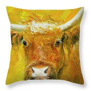Horned Cow Painting Throw Pillow