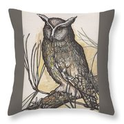 Horned Owl And Pine Throw Pillow