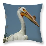 Horny Pelican Throw Pillow
