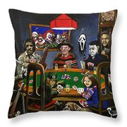 Horror Card Game Throw Pillow by Tom Carlton