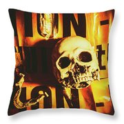 Horror Skulls And Warning Tape Throw Pillow
