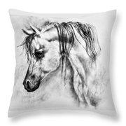 Arabian Horse 1 By Diana Van Throw Pillow