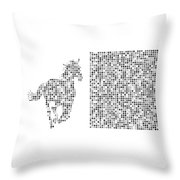 Horse 2 Black And White Throw Pillow
