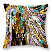 Horse Abstract Brown And Blue Throw Pillow