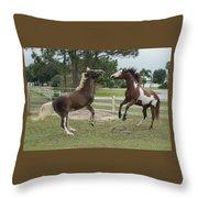 Horse Aerobics Throw Pillow