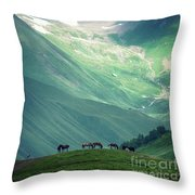Horse Among The Mountains Of Georgia Throw Pillow