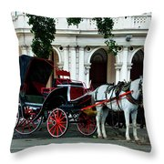 Horse And Buggy In Havana Throw Pillow