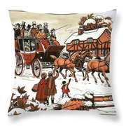 Horse And Carriage In The Snow Throw Pillow