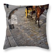 Horse And Carriage On Cobblestoned Alvarez Quintero Street In Th Throw Pillow
