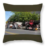 Horse And Carriage Ride Throw Pillow