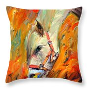 Horse And Grass Throw Pillow