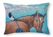 Horse And Magpie Throw Pillow
