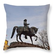 Horse And Rider Monument Throw Pillow