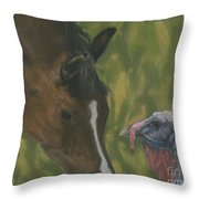 Horse And Turkey Throw Pillow