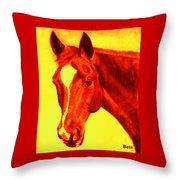 Horse Art Horse Portrait Maduro Deep Yellow And Orange Throw Pillow