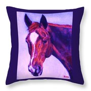 Horse Art Horse Portrait Maduro Pink And Purple Throw Pillow