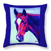 Horse Art Horse Portrait Maduro Psychedelic Throw Pillow