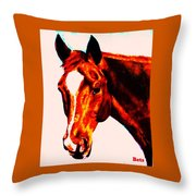 Horse Art Horse Portrait Maduro Red With Yellow Highlights Throw Pillow