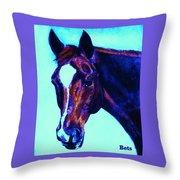 Horse Art Horse Portrait Maduro Striking Purple Throw Pillow