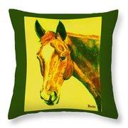 Horse Art Horse Portrait Maduro Yellow Throw Pillow