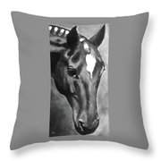 Horse Art Horse Portrait Red Black And White Throw Pillow