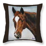 Horse Art Portrait Of Horse Maduro Throw Pillow