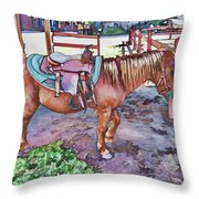 Horse At Zoo Throw Pillow