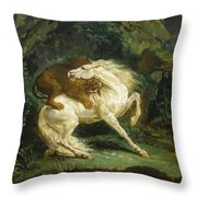 Horse Attacked By A Lion Throw Pillow
