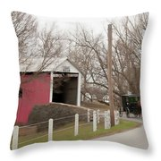 Horse Buggy And Covered Bridge Throw Pillow