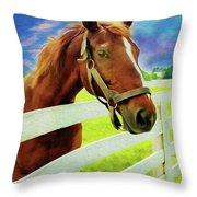 Horse By Nicholas Nixo Efthimiou Throw Pillow